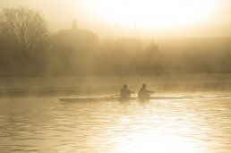 Leander Club athletes in the mist